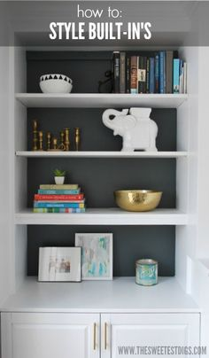 How To Style Built In Shelves styling built in shelves around fireplace; integrating brass details, artwork, books, and vintage wares (via the sweetest digs) Built In Shelves Living Room, Bookshelves Built In, Wall Shelves, Bookcases, Bookshelf Styling, White Shelves, Build In Shelves, Shelves Around Fireplace, Painted Built Ins