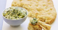 An easy recipe for a creamy vegetarian dip made by combining baby spinach leaves, feta and sour cream. Dip Recipes, Other Recipes, Cooking Recipes, Dessert Recipes, Spinach And Feta, Spinach Leaves, Baby Spinach, Focaccia Recipe, Garlic Cheese Bread