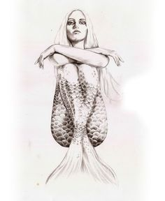 Mermaid with attitude. Sketches & drawings by Torun Mørkeseth Karlsen, via Behance