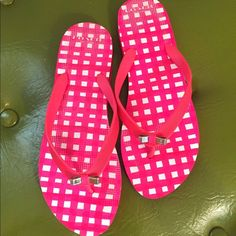 Authentic Coach Flip Flops Very cute pink and white Coach flip flops. They are in new condition. I've only worn them around the house a few times. Coach Shoes Sandals