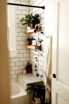Bathroom Decor plants 27 Elegant White Bathroom Ideas Inspire Your Home Boho Bathroom, Budget Bathroom, Garden Bathroom, White Bathroom Decor, Shower Bathroom, Vanity Bathroom, Bathroom Small, Remodel Bathroom, Master Bathroom