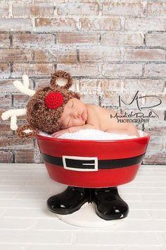 Reindeer Hat- Baby Hat- Christmas Hat