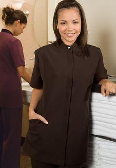 Stylish and sophisticated black beauty tunic with cobalt for Spa housekeeping uniform