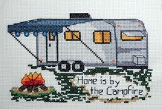 home is by the campfire cross stitch, camping cross stitch designs