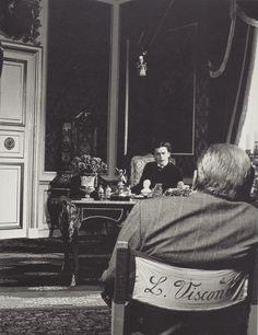"""fantomas-en-cavale: """"Helmut Berger et Luchino Visconti sur le tournage de Ludwig, photo par Mario Tursi, 1972 """""""