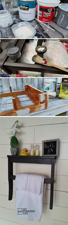 This DIY chair seat wall shelf from Gail of @repurposedlife is both creative, practical for tidying, and stylish with its country aesthetic! If you're looking to add a touch of charming farmhouse design to your guest bathroom, this project idea is sure to do the trick.