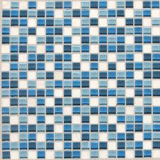"American Olean Legacy Glass 12"" x 12"" Glazed Glass and Stone Mosaic in Ocean Blend"