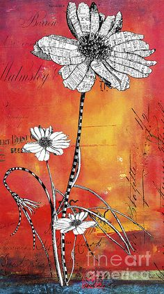 Mixed media... Love the color background with black & white drawing
