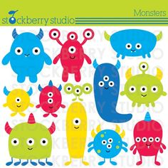 Monsters Personal and Commerical Use Clipart Set - INSTANT DOWNLOAD