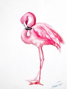 Flamingo original watercolor painting 12 X 9 in by ORIGINALONLY, $24.00