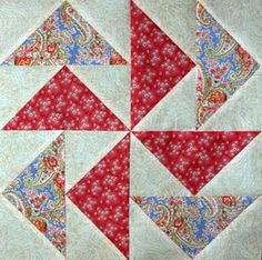 Flying Geese Quilt Pattern... the No Waste Method: Flying Dutchman Quilt Block - An example of eight Flying Geese units sewn in two different color combinations.