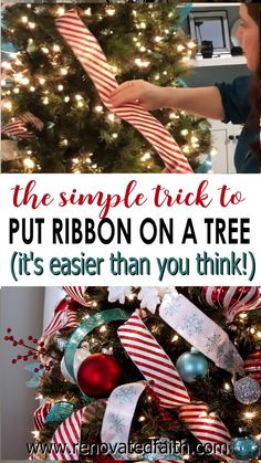 This STEP-BY-STEP tutorial with video shows you how to add cascading ribbon on Christmas trees. Waterfall ribbon Christmas trees allow you to add any combinations of ribbon & mesh colors to customize your tree with satin or even flannel. Ideas & DIY instructions on how to make ribbon garland for Christmas trees for any Christmas décor style including farmhouse, elegant or traditional holiday décor Elegant Christmas Decor, Christmas Décor, Coastal Christmas, Holiday Decor, Christmas Tree Ribbon Garland, Christmas Tree Decorations, Christmas Wreaths, Winter Wonderland Decorations, How To Make Ribbon