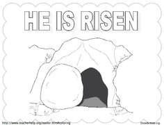 empty tomb coloring pages | He Is Risen Coloring Page | Easter activities for kids ...
