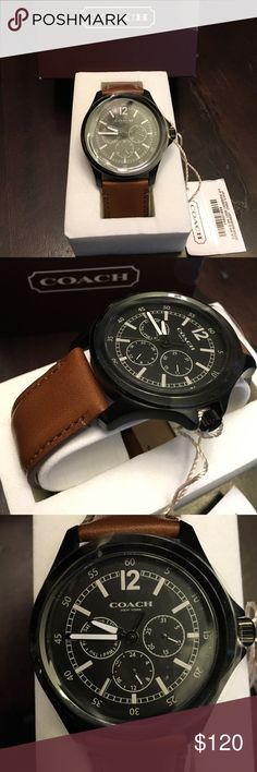Men Coach W5007 BARROW LEATHER STRAP WATCH Men's Coach Barrow ionized plated case with leather strap.  Face is black with white. Mineral crystal and quartz movement. Saddle brown leather strap with buckle closure. Case diameter approx 42mm. Coach Accessories Watches