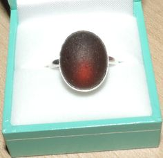 Handmade Sterling silver and sea glass ring - Plum red on Etsy, £30.00