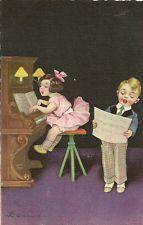 CARTE POSTALE ITALIE FANTAISIE ILLUSTRATEUR COLOMBO ENFANT MUSIQUE PIANO CHANT