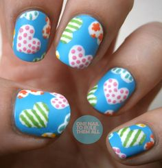 """""""Patchwork Heart"""" Nails"""