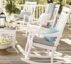 Shop outdoor rocking chairs from Pottery Barn. Our furniture, home decor and accessories collections feature outdoor rocking chairs in quality materials and classic styles. White Rocking Chairs, Outdoor Rocking Chairs, White Chairs, Lounge Furniture, Outdoor Furniture, Outdoor Decor, Porch Furniture, Living Furniture, Furniture Design