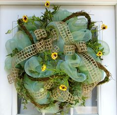 Summer Wreath Mesh Flowers Mothers Day Gift by HolidaysAreSpecial, $75.00