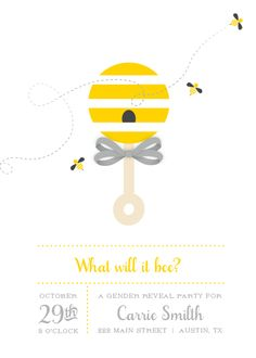 baby shower invitations - What Will It Bee Gender Reveal by Kelly Mills