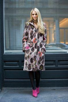 Jennifer Missoni in magenta Louboutin booties.