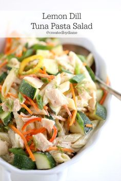 Tuna salad gets mixed with veggies and a homemade lemon dill sauce that is out of the world delicious, served hot or cold