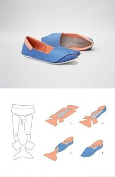 DIY Shoes - could i do this with fabric to make slippers or shoes?UNiFOLD shoes by Horatio Yuxin HanTutorial DIY craft easy simple clever idea…I would like to design and make my own shoes for my final fashion artifact for…DIY Shoes - Neat idea, b Up Shoes, Doll Shoes, Baby Shoes, Funky Shoes, Paper Shoes, Diy Accessoires, Shoe Pattern, How To Make Shoes, Diy Clothing