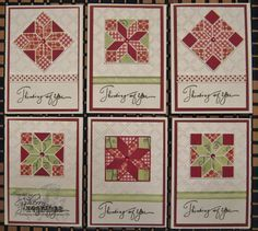 notecard set of qult cards from Stamping Cowgirl Creations: Life is a quilt  . reds and mint on white . variations of patterned papers using die cut  quilt ...