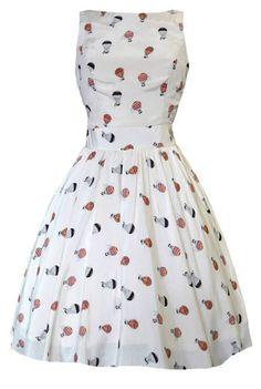 Lady Vintage Hepburn Tea Dress Hot Air Balloon Print 50s Rockabilly Size 8 20 | eBay - $70.59 + shipping