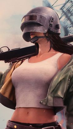 PUBG Girl Level 3 Helmet With Sniper - Best of Wallpapers for Andriod and ios