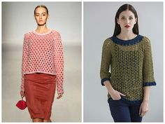 Hot off the Runway: Give your outfit depth without complication! Just throw your favorite lace sweater over a cute dress. Make it your own with the Baltimore Crochet Pullover pattern in Tahki Yarn's COTTON CLASSIC LITE. (Inspiration photo, left, from pinterest.com)