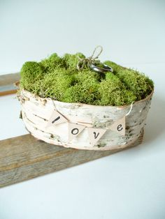 Ring Bearer Pillow Birch Bark Moss Wedding Pillow Alternative. $20.00, via Etsy.