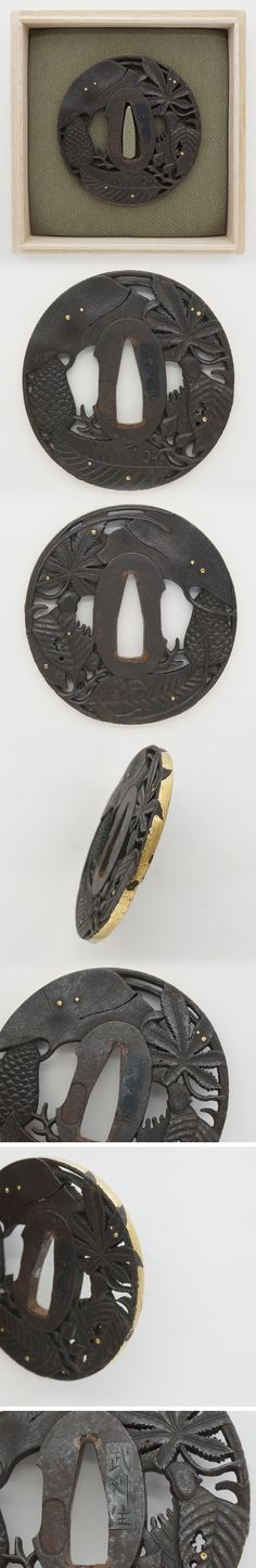 Edo On round shape iron tsuba,flower and leaf design is engraved. Mimi is covered with gold (Perso)
