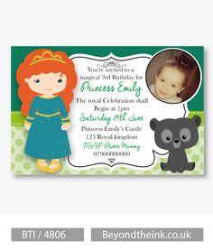 Personalised Brave Merida Photo Invitations.  Printed on Professional 300 GSM…