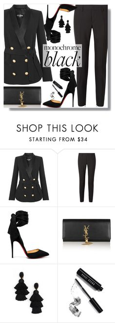 """""""Mission Monochrome: All-Black Outfit"""" by loewenangel ❤ liked on Polyvore featuring Balmain, Yves Saint Laurent, Christian Louboutin, Oscar de la Renta and Bobbi Brown Cosmetics"""