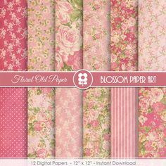 Pink Floral Digital Paper Shabby Chic Digital by blossompaperart