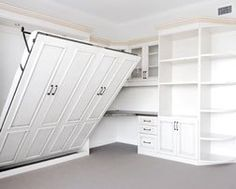 Add a Murphy Bed, with Drop-Down Table, into YOUR Craft Room Whether your hobby is crafts, quilting, scrapbooking, coin collecting or model airplanes you need to have a craft space / work surf…