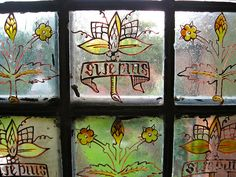 """Window Glass Painting by William Morris, Red House, Bexleyheath, Featuring his Motto, """"Si Je Puis"""""""