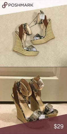 07c9e225c2e9 Python snake print jute sandal wedges Brand new no shoebox. Shoes Sandal  Wedges