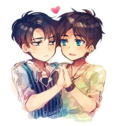 Rivaille (Levi) x Eren Jaeger <- You know, most of the time AOT makes me cry, but when it makes me happy, I get REALLY happy.