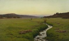 """""""The Brook,"""" Charles Harold Davis, 1890, oil on canvas, mounted on wood, 71 x 114 1/2"""", Pennsylvania Academy of the Fine Arts."""