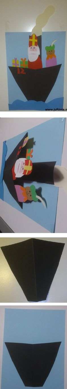 Deze stoomboot van Sinterklaas is 2 dimensionaal. Teken eerst de vorm van de voorkant van de stoomboot op zwart papier en knip deze uit. Plak deze met de onderkant en de zijkanten vast op je papier. Doe dit zo dat de voorkant van de boot naar voren staat. Zie de voorbeeldjes onder het knutselwerkje. Nu … Saint Nicolas, Preschool Toys, Happy Holidays, Crafts For Kids, December, Paper Crafts, Kids Rugs, Blog, Seasons