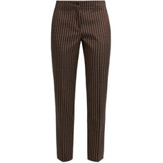 Etro Chevron-jacquard cropped trousers (€215) ❤ liked on Polyvore featuring pants, capris, bottoms, trousers, brown multi, cropped trousers, brown pants, straight leg trousers, chevron pattern pants and patterned trousers