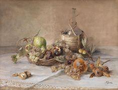 Stilleben mit Obst und Chiantiflasche .  Aquarell und Deckweiß auf Papier  \\  Austrian painter Marie Egner  ( 1850 - 1940 )