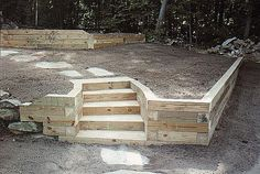 landscape retaining wood wall ideas - wood stairs