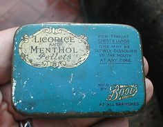 Small 1930s Boots Chemists Tin - Licorice & Menthol Pellets in Collectables, Advertising, Chemist | eBay