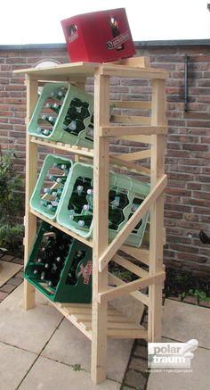Getränkekisten-Regal aus Fichtenholz für 6 Kisten | Polartraum • natürlich • handgemacht