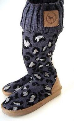 67f8c7cace0 Victoria Secret PINK LEOPARD MUKLUK FUR BOOTIE Gray Faux Fur Slipper Boots  5  6 Victoria