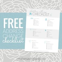 This FREE address change checklist is a handy reminder for anyone who is considering a big move, or just recently moved to a new place!
