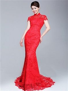 Lace Cheongsam Mermaid Sweep Backless Cutwork Embroidery Tailing Wedding Dress